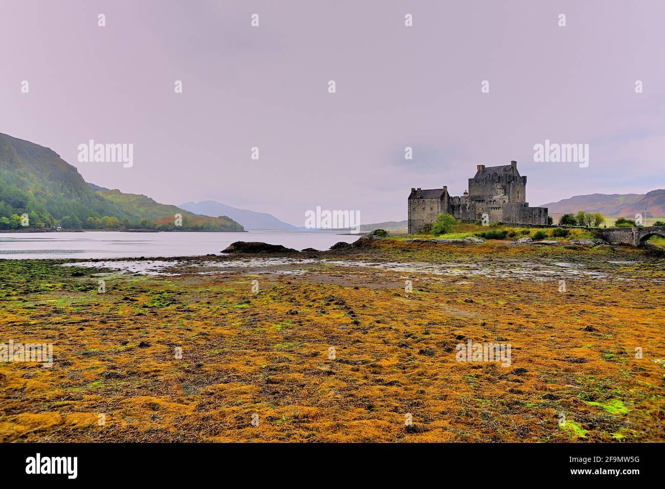 Dornie, near Kyle of Lochalsh, Northwest Highlands, Scotland, United Kingdom. Eilean Donan Castle, the most famous of all Highland castles. Stock Photo