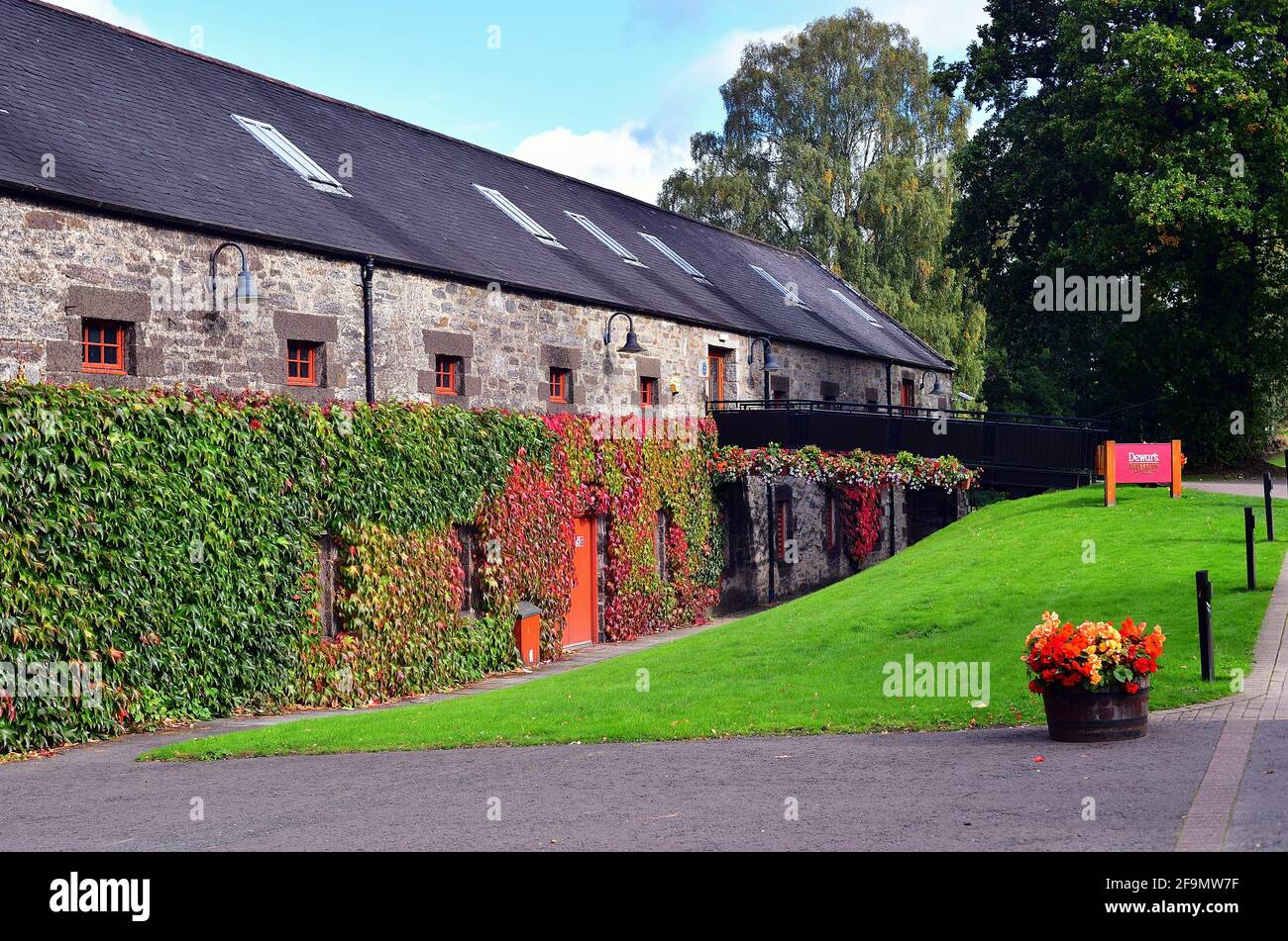 Aberfeldy, Scotland, United Kingdom. The Dewar's Distillery, founded in 1846, is now owned by Bacardi. Stock Photo