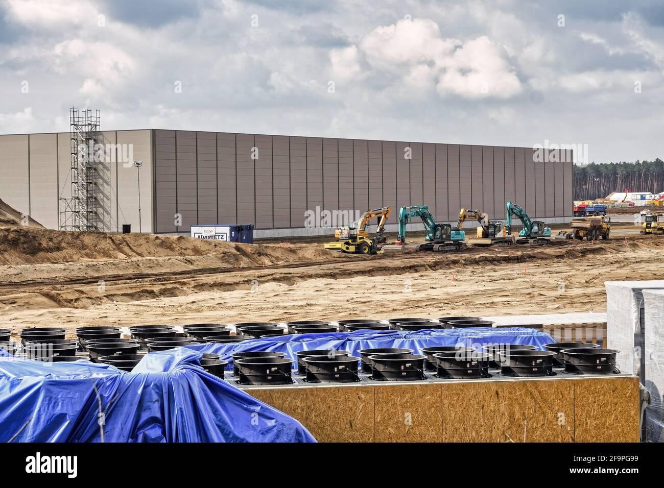 Tesla Gigafactory Grünheide, Brandenburg, Tesla Straße, Baustelle, Mark Brandenburg, Berlin , Deutschland, Europa Stock Photo