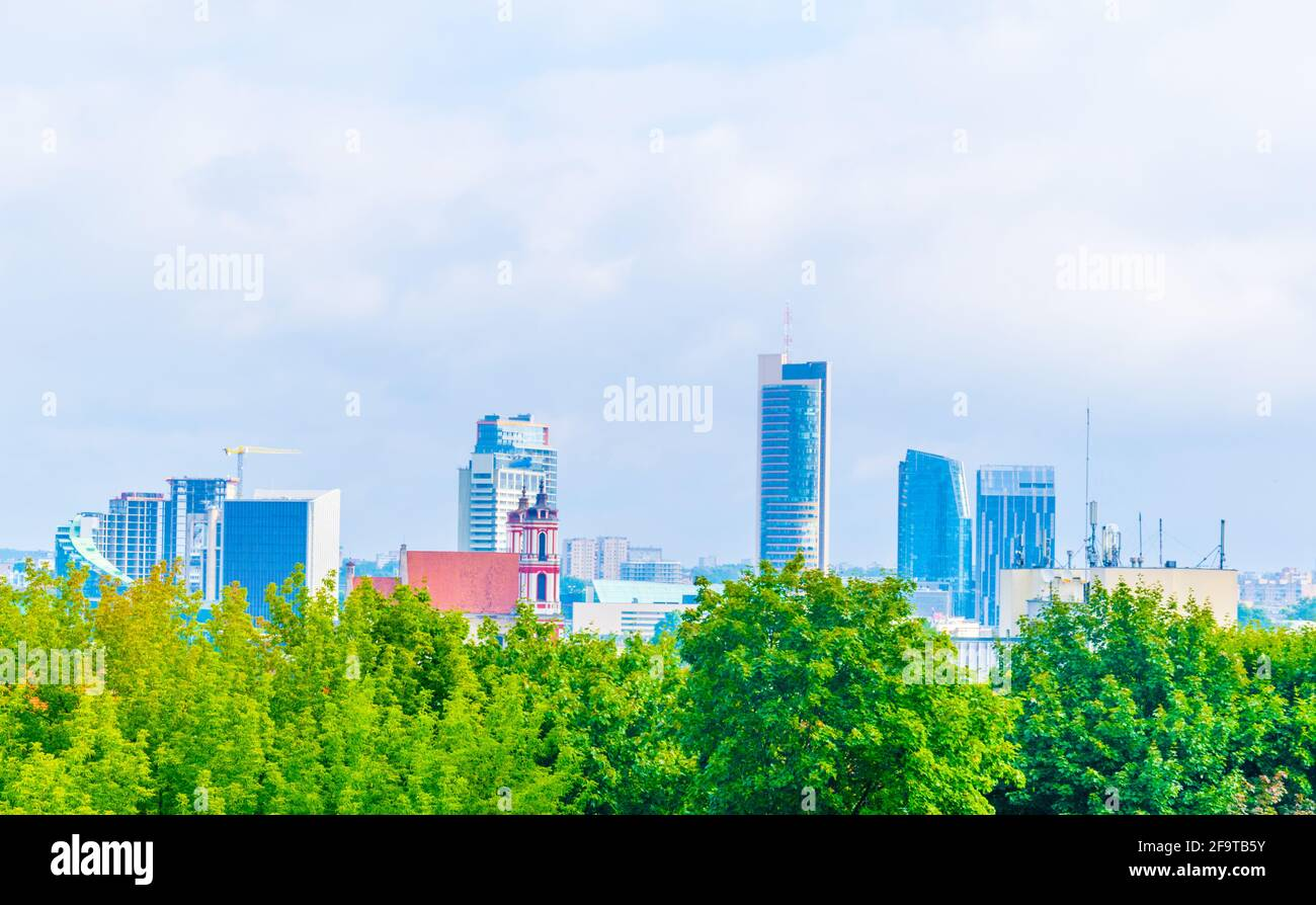 Aerial view of the lithuanian capital Vilnius from top of the Tauras hill. Stock Photo