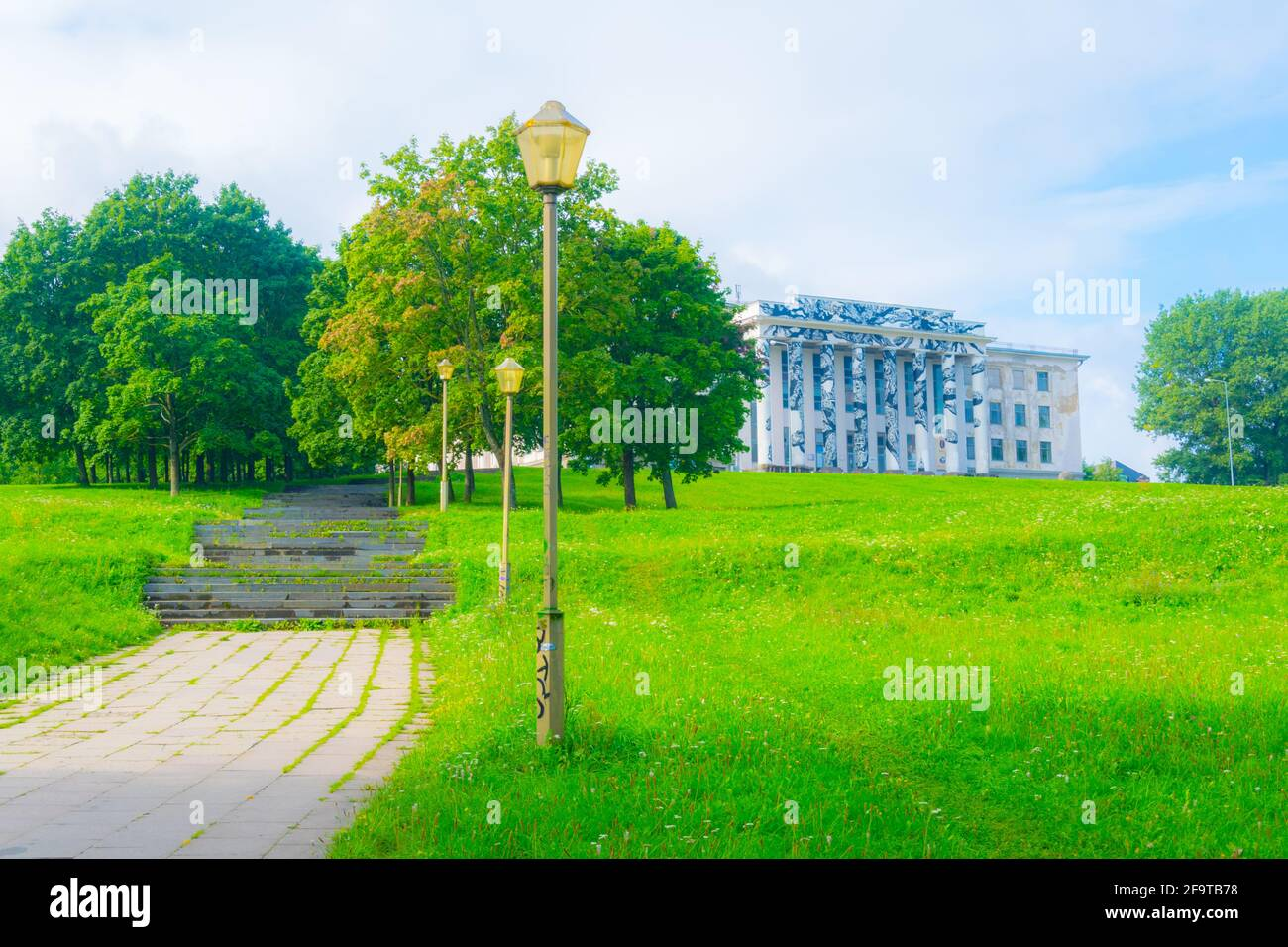 View of a building situated on top of the Tauras hill in Vilnius, Lithuania. Stock Photo