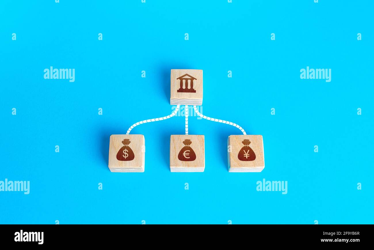 Linked blocks bank and currencies money bags. Financial system, national foreign exchange reserve concept. Attraction of credit resources on capital m Stock Photo
