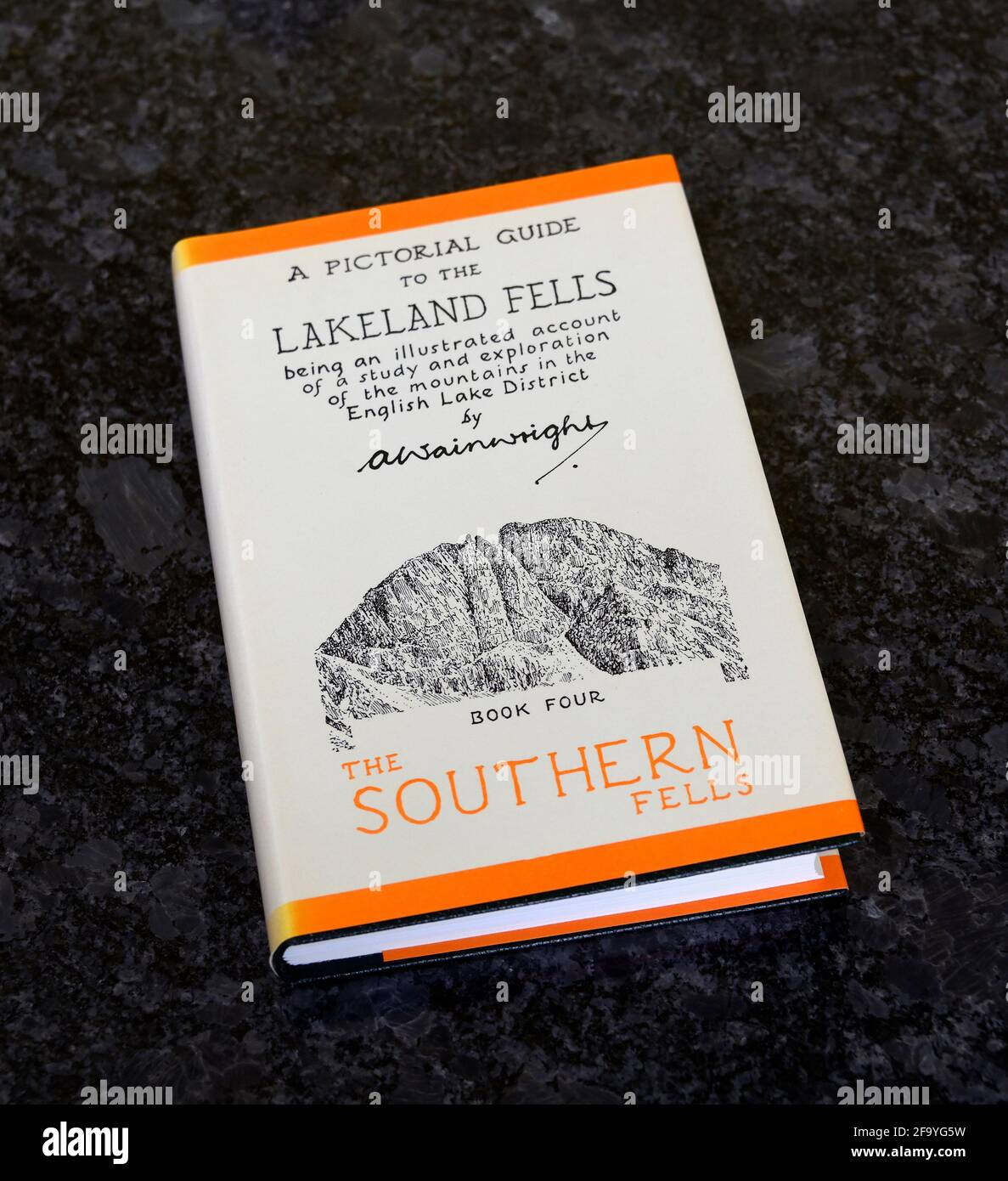 """Book. """"A Pictorial Guide to the Lakeland Fells. The Southern Fells"""" by Alfred Wainwright. Stock Photo"""