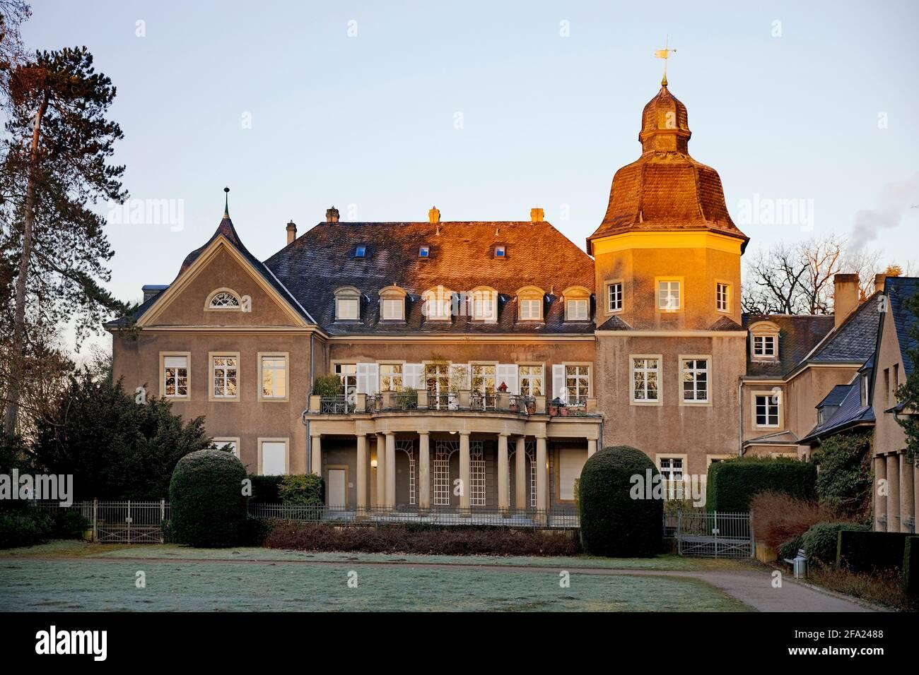 Garath Palace at sunrise, Germany, North Rhine-Westphalia, Lower Rhine, Dusseldorf Stock Photo
