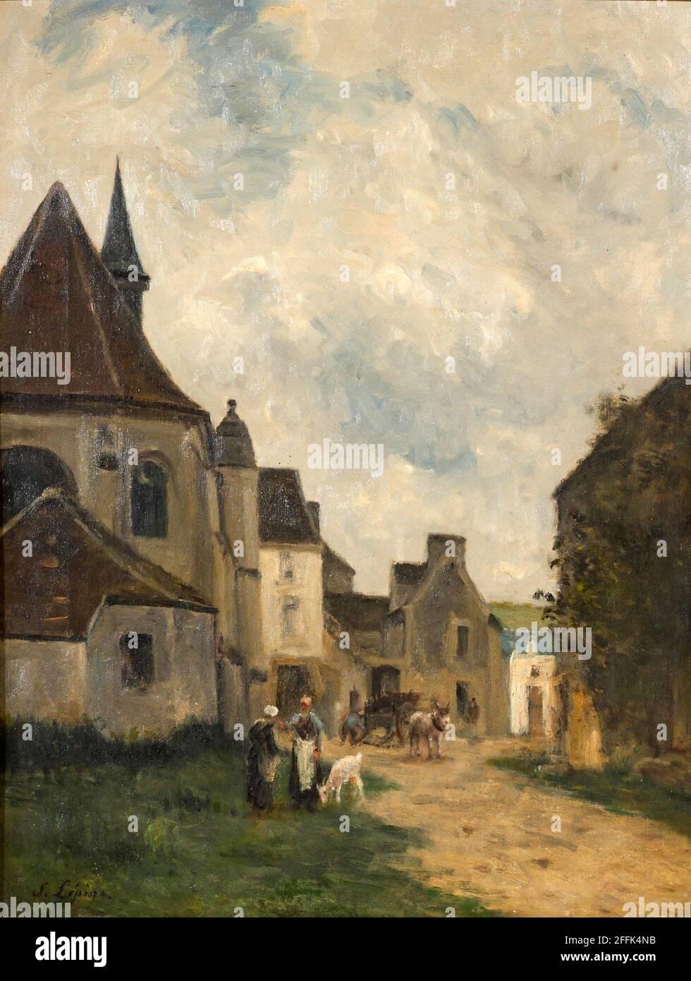 _508Stanislas Lpine (French, 1835-1892) Rue du village en Pays de Caux Stock Photo