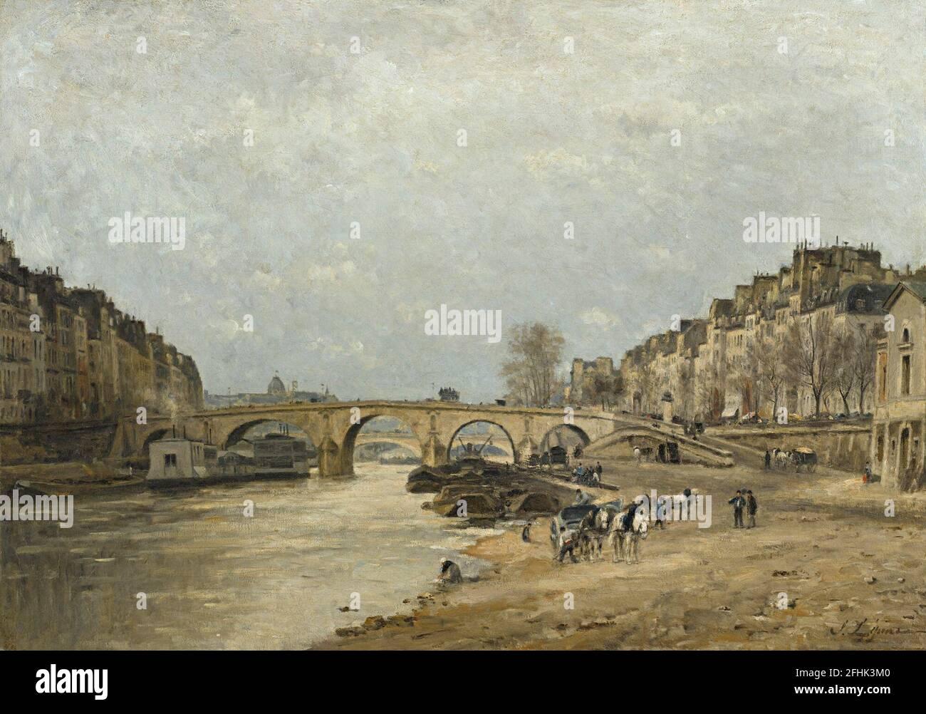 _742Stanislas Lpine 1835 - 1892 THE SEINE ON THE BRIDGE Stock Photo