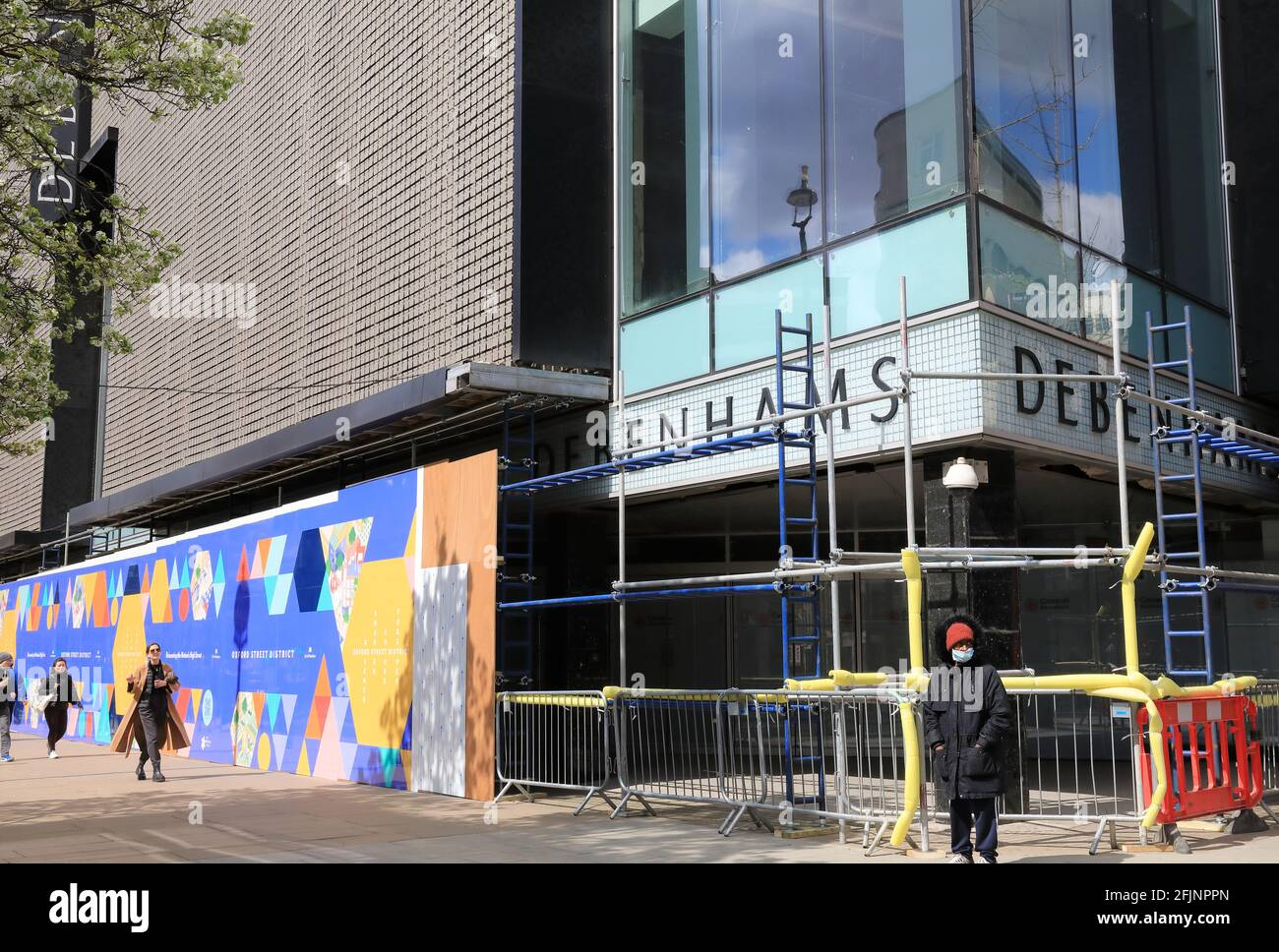 Debenhams closed and boarded up on Oxford Street in London's West End, UK Stock Photo