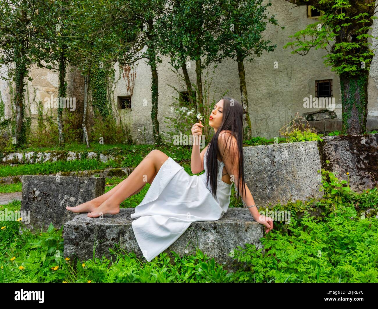 Make a wish blowing dandelion flower barefeet young woman aka countrygirl Stock Photo