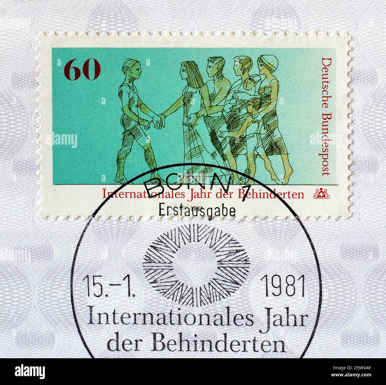 Cancelled Postage stamp printed by Germany, that shows Disabled and healthy people walking together, circa 1981. Stock Photo