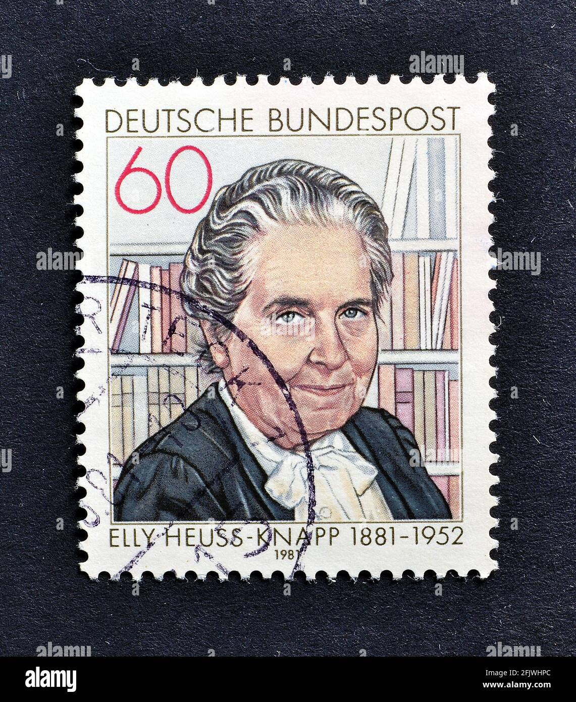 Cancelled postage stamp printed by Germany, that shows German politician Elly Heuss-Knapp (1881-1952), circa 1981. Stock Photo