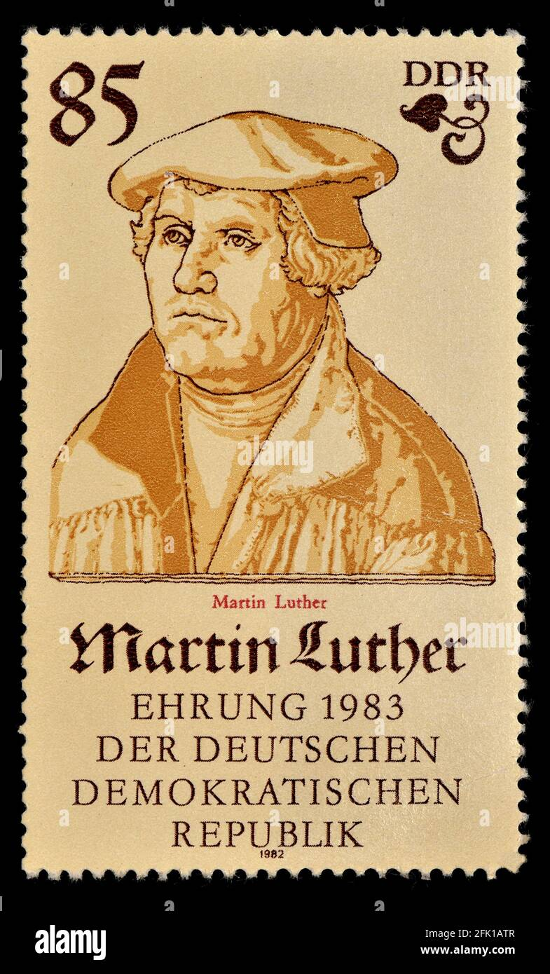 East German postage stamp (1982)  : 500th anniversary of the birth of Martin Luther (1483-1546) Stock Photo