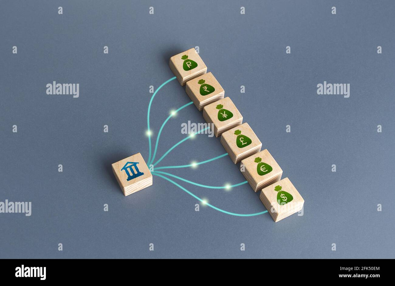 Linked blocks bank and currencies money bags. Bank financial institution manages cash, deposits and loans. Attraction of credit resources on capital m Stock Photo
