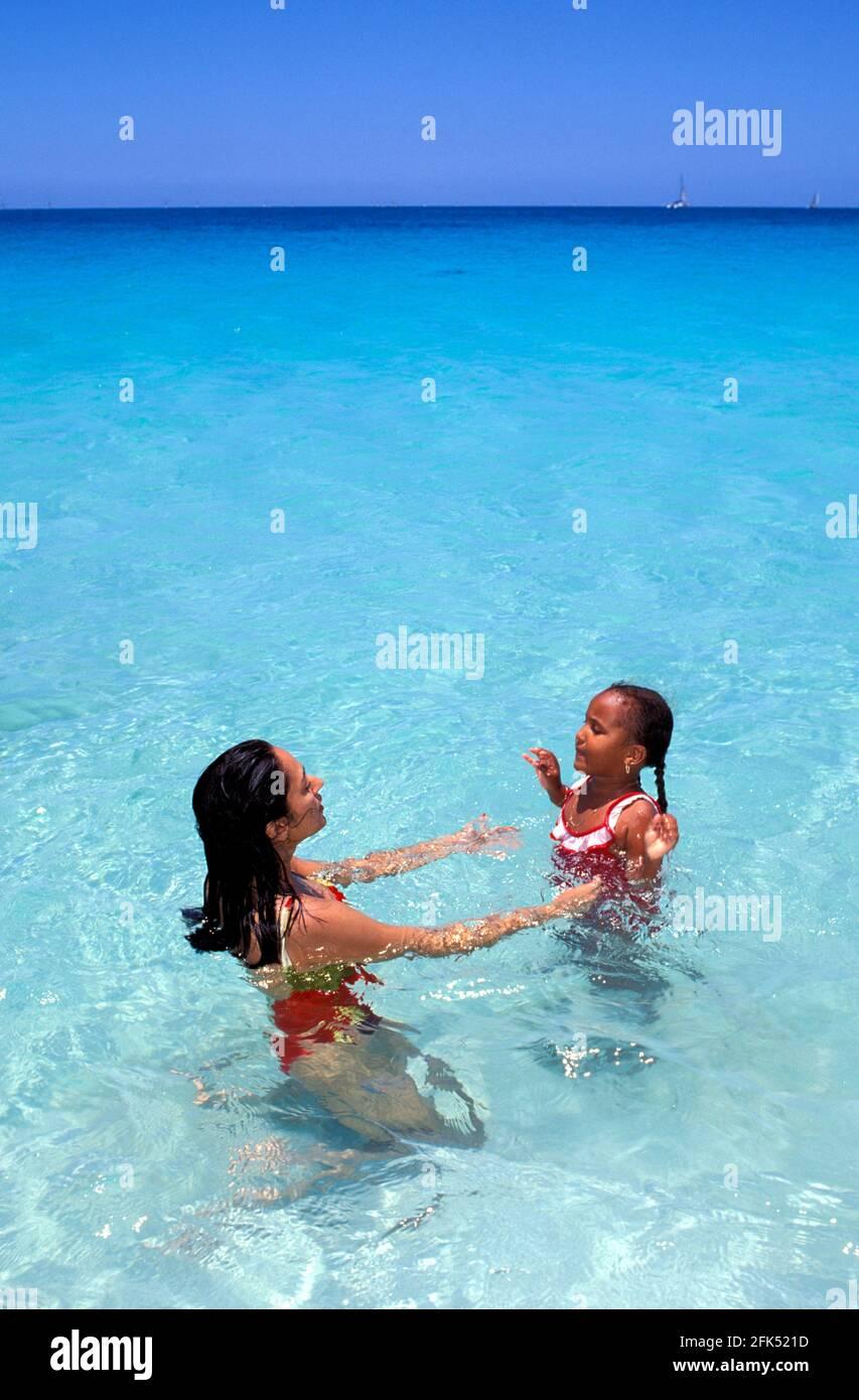 Swimming at Darkwood Beach, Antigua, Caribbean Stock Photo