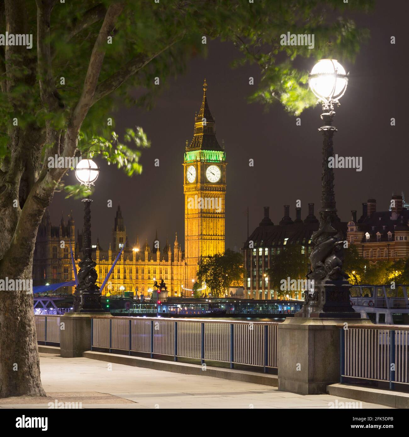 Elizabeth Tower at the Houses of Parliament, Westminster, England, taken at night from the South Bank, public ground. Stock Photo