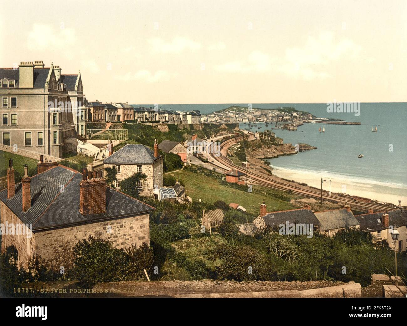 Porthminster Bay St Ives in Cornwall circa 1890-1900 Stock Photo