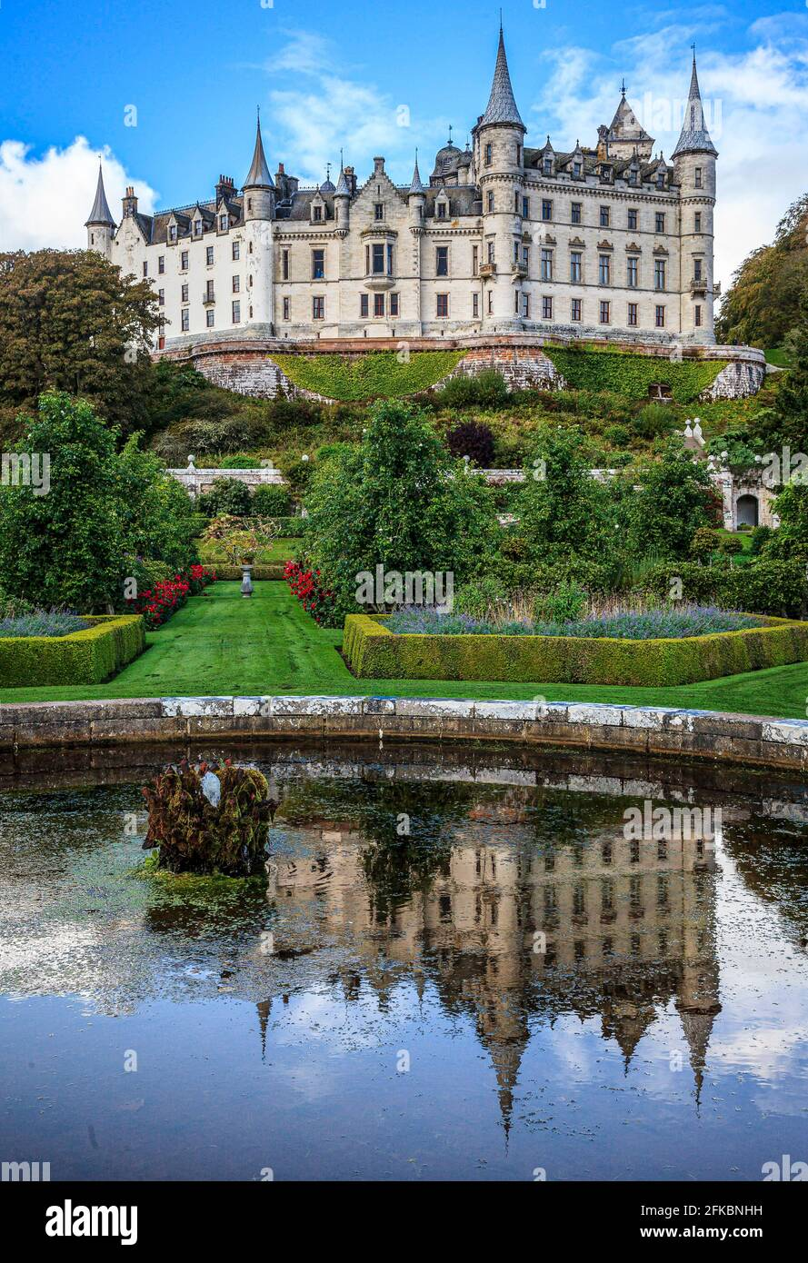 Dunrobin castle Golspie in the Scottish highlands is a fine example of a French chateau style castle. Scotland UK. Stock Photo