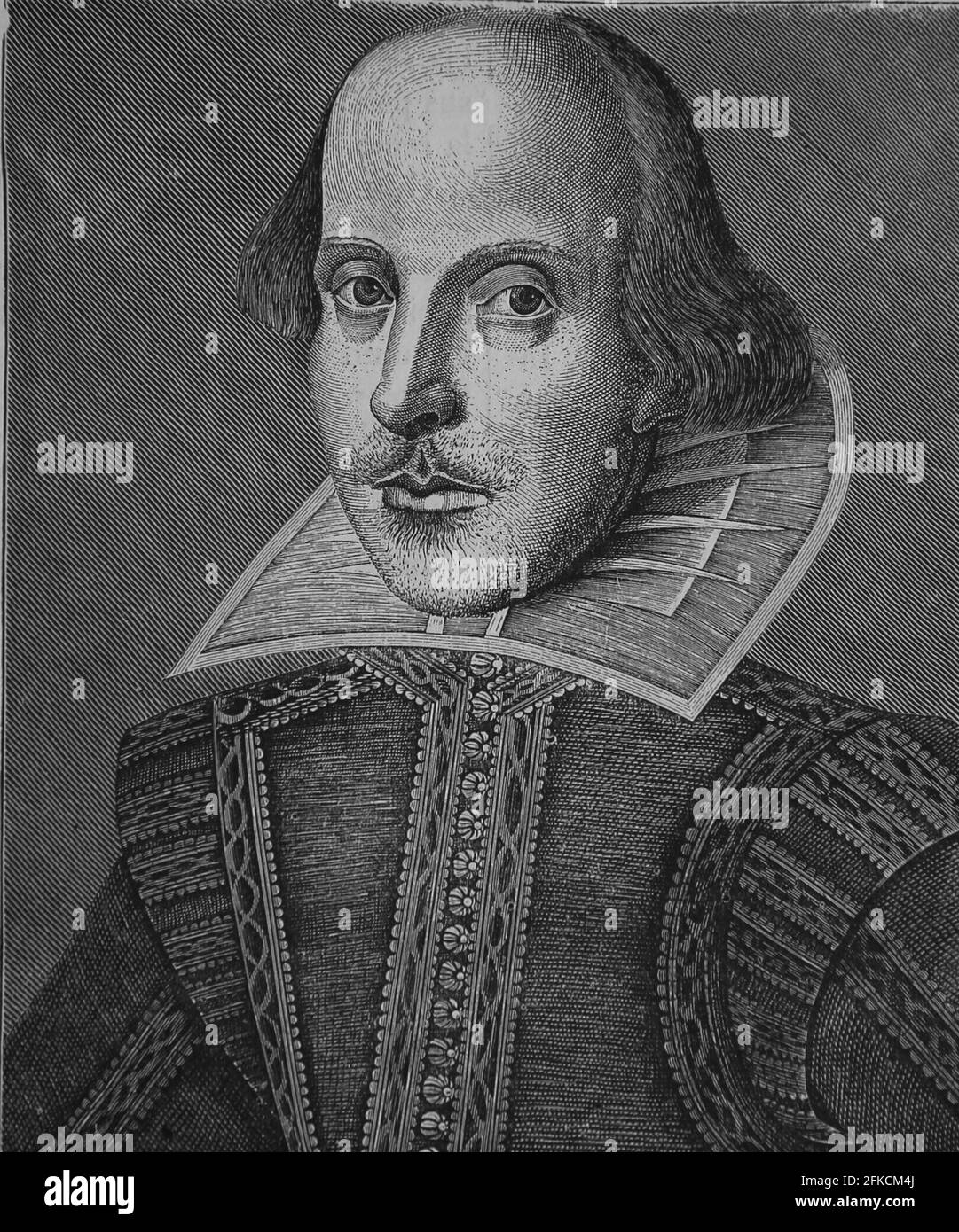 William Shakespeare (1564-1616). English writer. Facsimile of a copper engraving by Martin Drocsbont, 1623. Universal History, 1884 Stock Photo