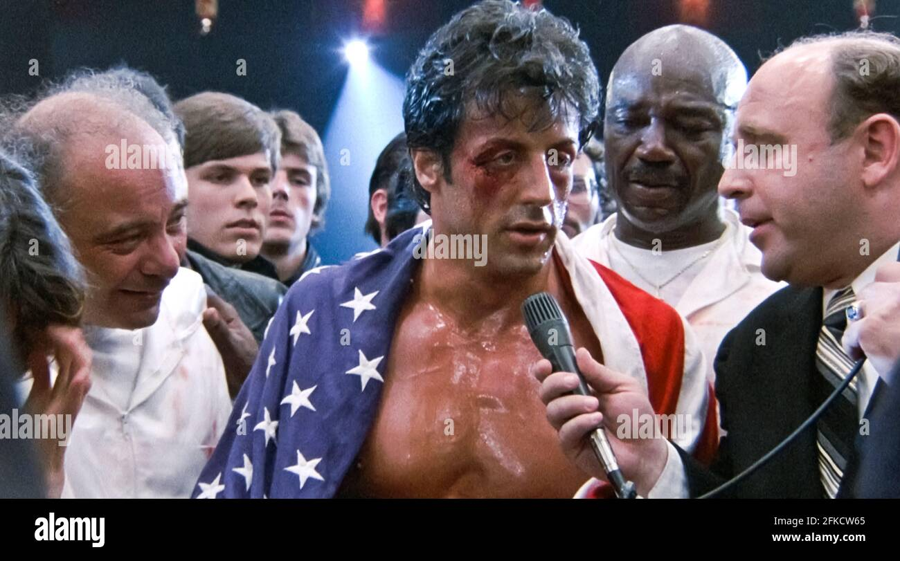 USA. Sylvester Stallone  in a scene from (C)MGM/UA film: Rocky IV (1985). Plot: Rocky Balboa proudly holds the world heavyweight boxing championship, but a new challenger has stepped forward: Drago, a six-foot-four, 261-pound fighter who has the backing of the Soviet Union.  Ref:  LMK110-J7060-260421 Supplied by LMKMEDIA. Editorial Only. Landmark Media is not the copyright owner of these Film or TV stills but provides a service only for recognised Media outlets. pictures@lmkmedia.com Stock Photo