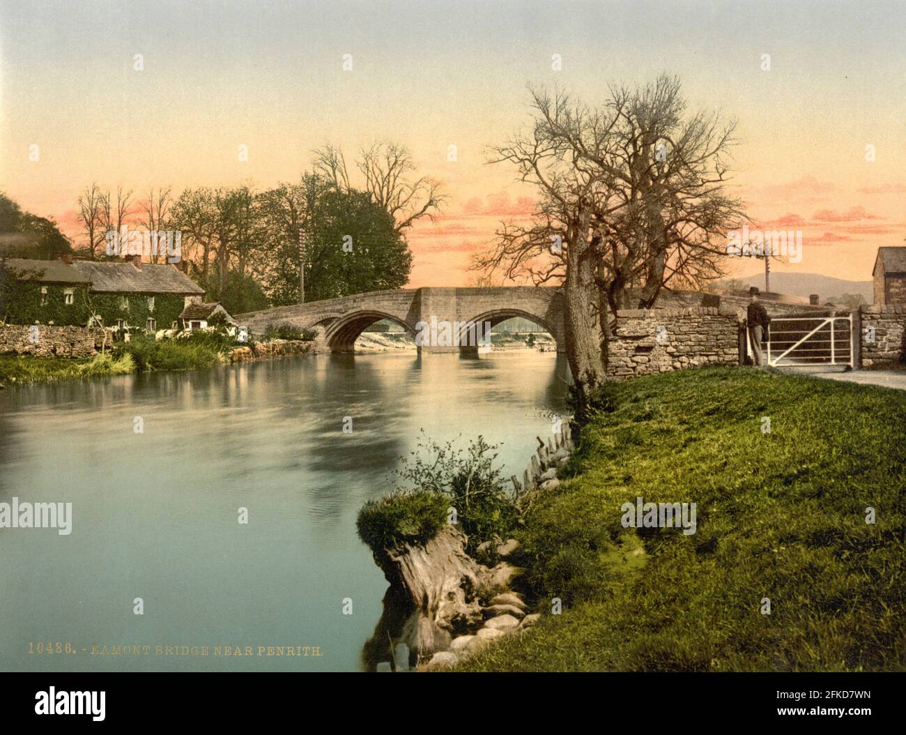Eamont Bridge and the River Eamont in The Lake District, Cumbria circa 1890-1900 Stock Photo