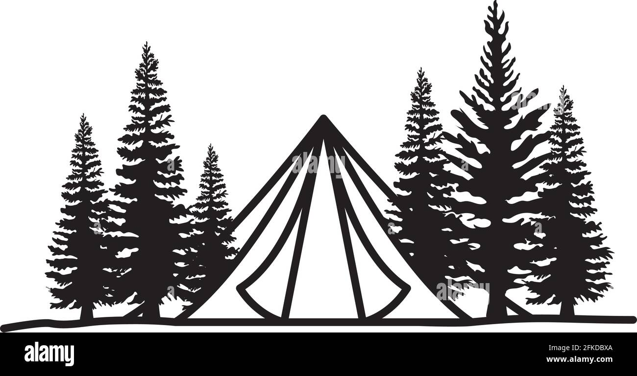 cute tent silhouette Stock Vector