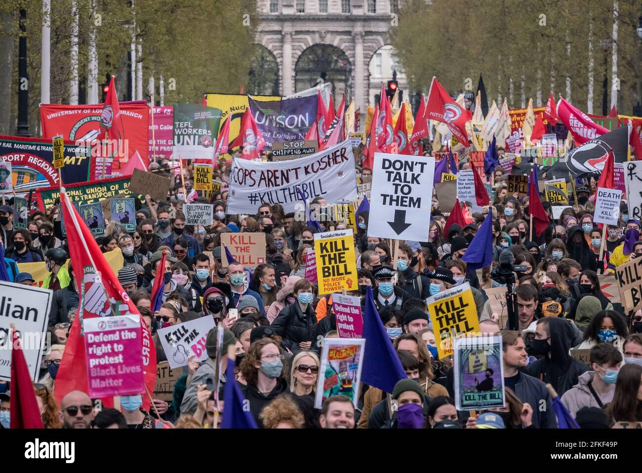 London, UK. 1st May 2021. Kill The Bill protest. Thousands march against a newly proposed police, crime, sentencing and courts bill on May Day (or Labour Day). Numerous social movements have united to protest against the bill, which they say would place significant curbs on freedom of speech and assembly, by giving police powers to curb protests, among other measures. Credit: Guy Corbishley/Alamy Live News Stock Photo