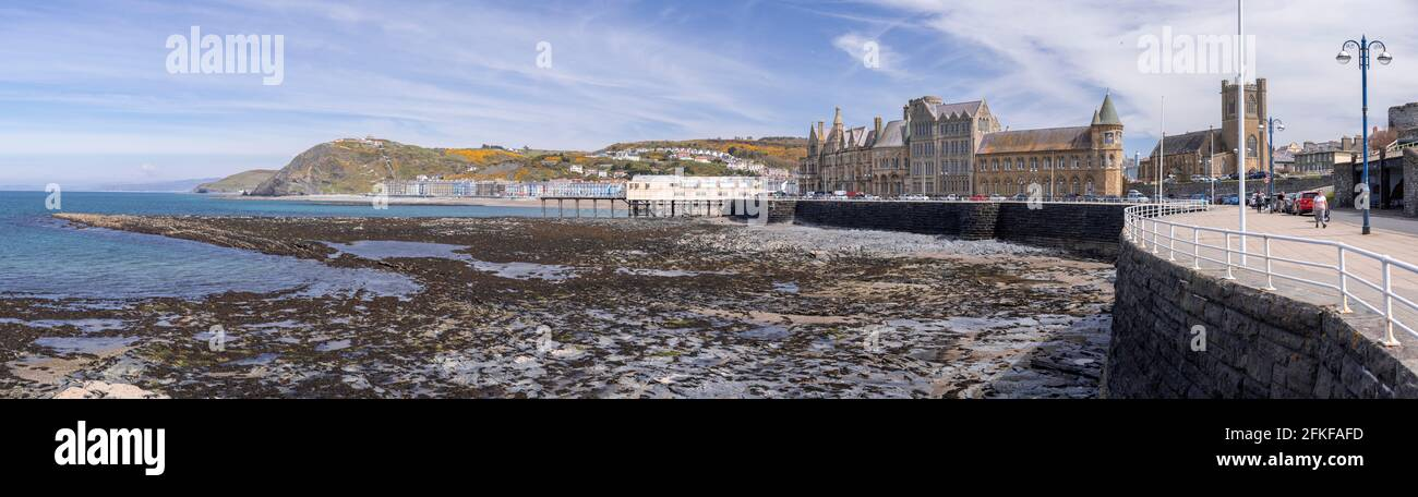 Panoramic view of Aberystwyth seafront, Ceredigion, Wales Stock Photo