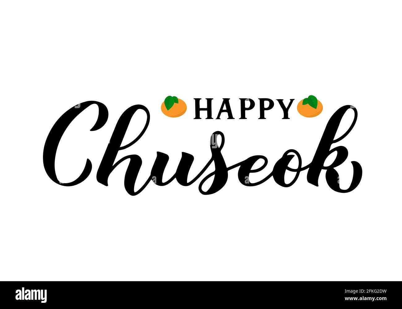 Happy Chuseok calligraphy hand lettering isolated on white. Korean traditional holiday Thanksgiving Day. Vector template for typography poster, greeti Stock Vector