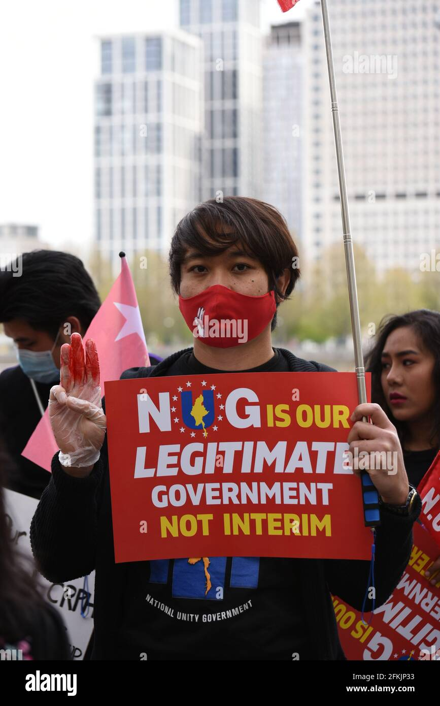 London, UK. 2 May 2021. 'Spring Revolution Day' organised by Global Myanmar. Protesters march against the military government in Myanmar and in favour of the National Unity Government. Credit: Andrea Domeniconi/Alamy Live News Stock Photo