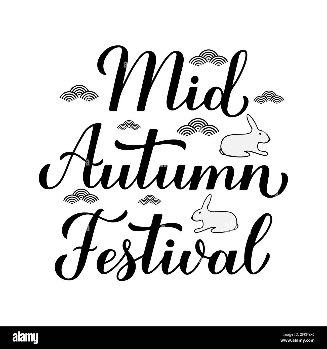 Mid Autumn Festival calligraphy hand lettering isolated on white. Chinese traditional holiday. Vector template for typography poster, greeting card, p Stock Vector