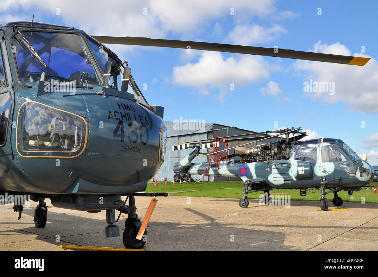 Westland Wasp helicopters at North Weald, Essex, UK. Vintage, classic helicopter types. Formerly Royal Navy military helicopter Stock Photo