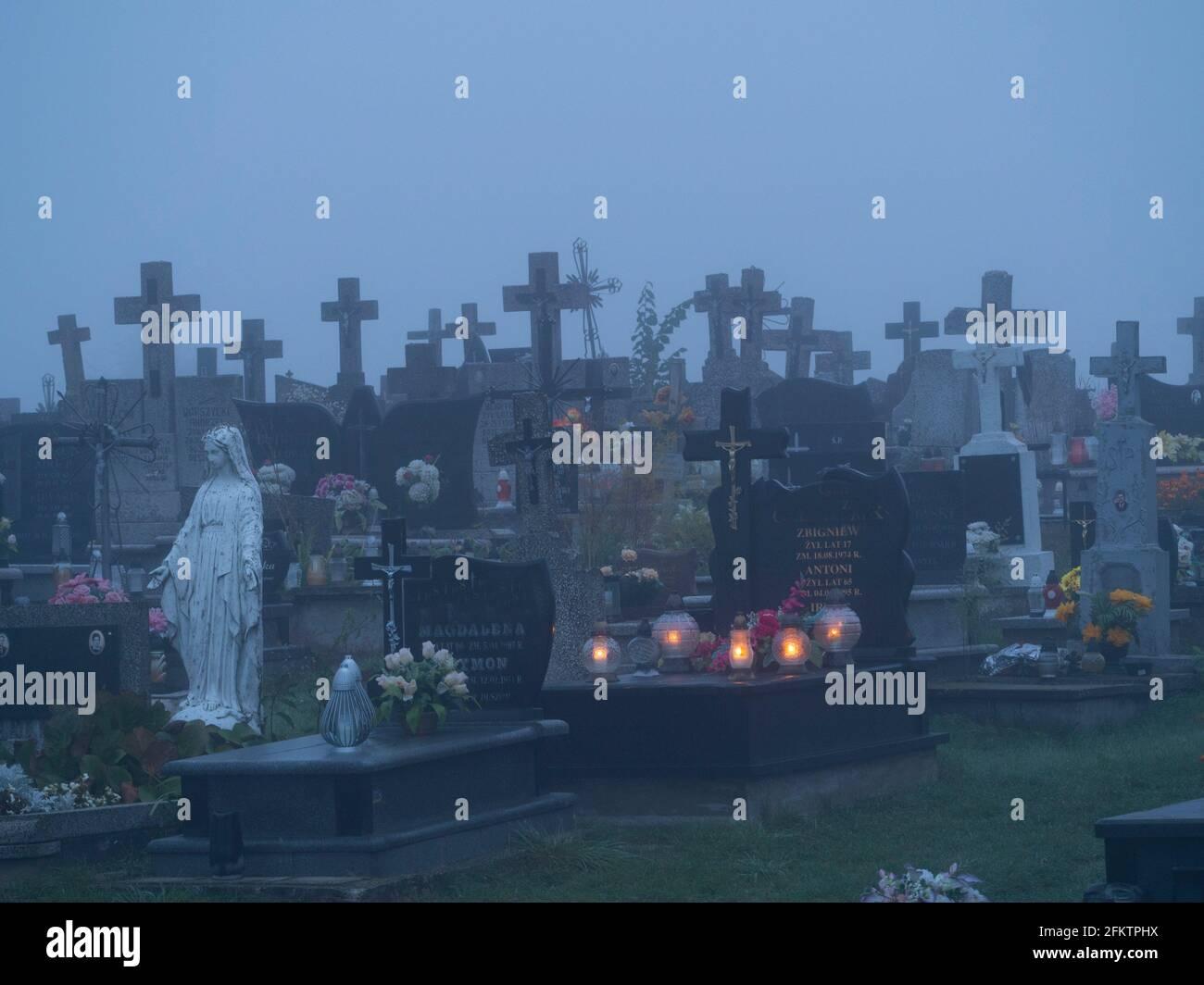 Poland. Cemetery at dawn Stock Photo