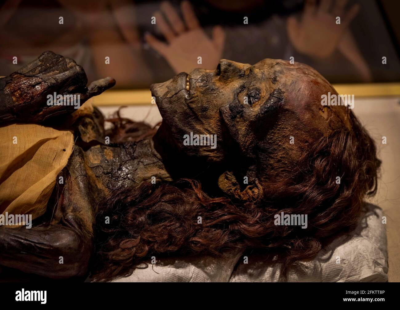children looking at mummy of Queen Hatshepsut, National Museum of Egyptian Civilization Stock Photo
