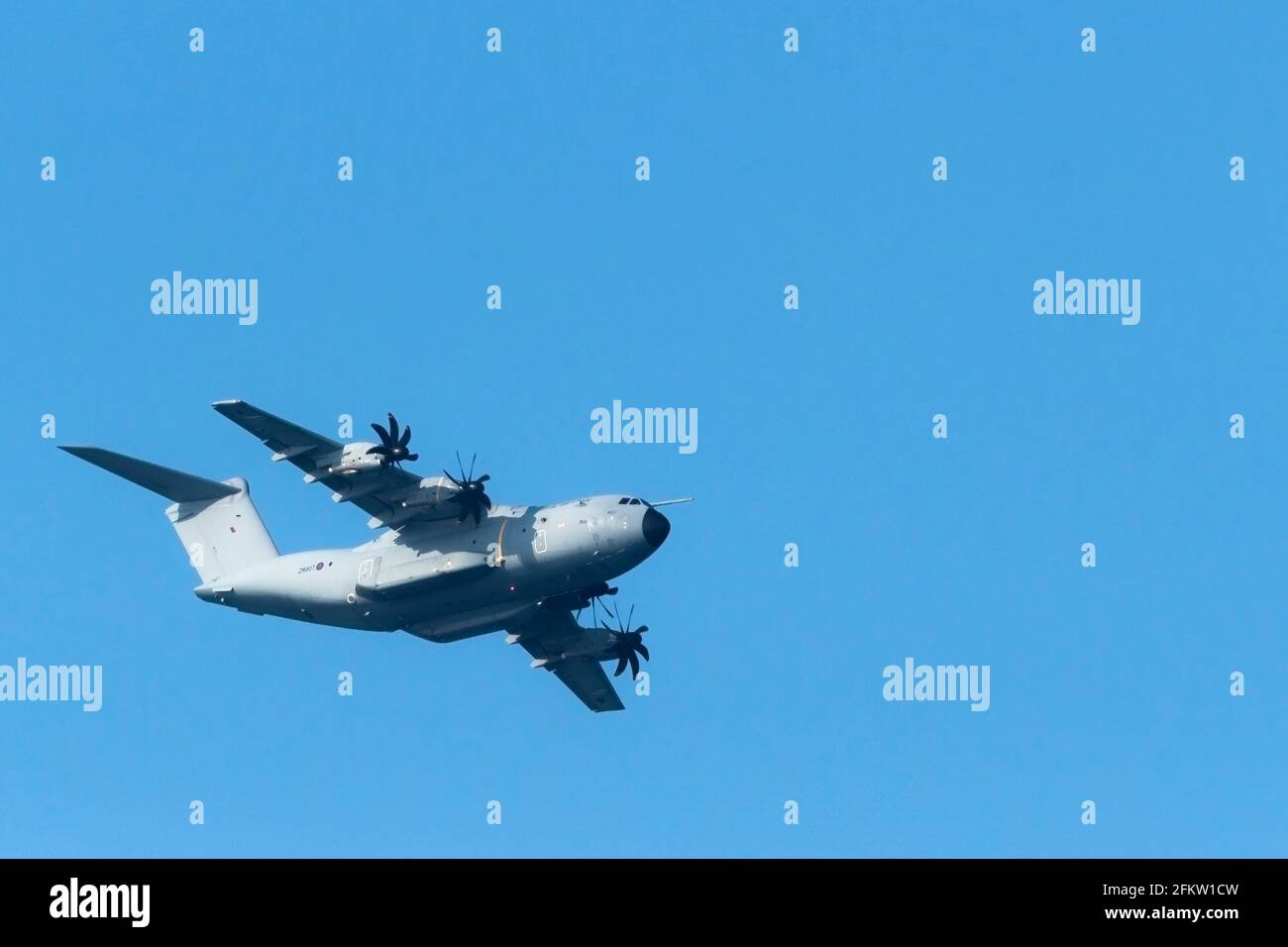 An RAF Airbus A400M Atlas C.1 Transport aircraft flying overhead. Stock Photo