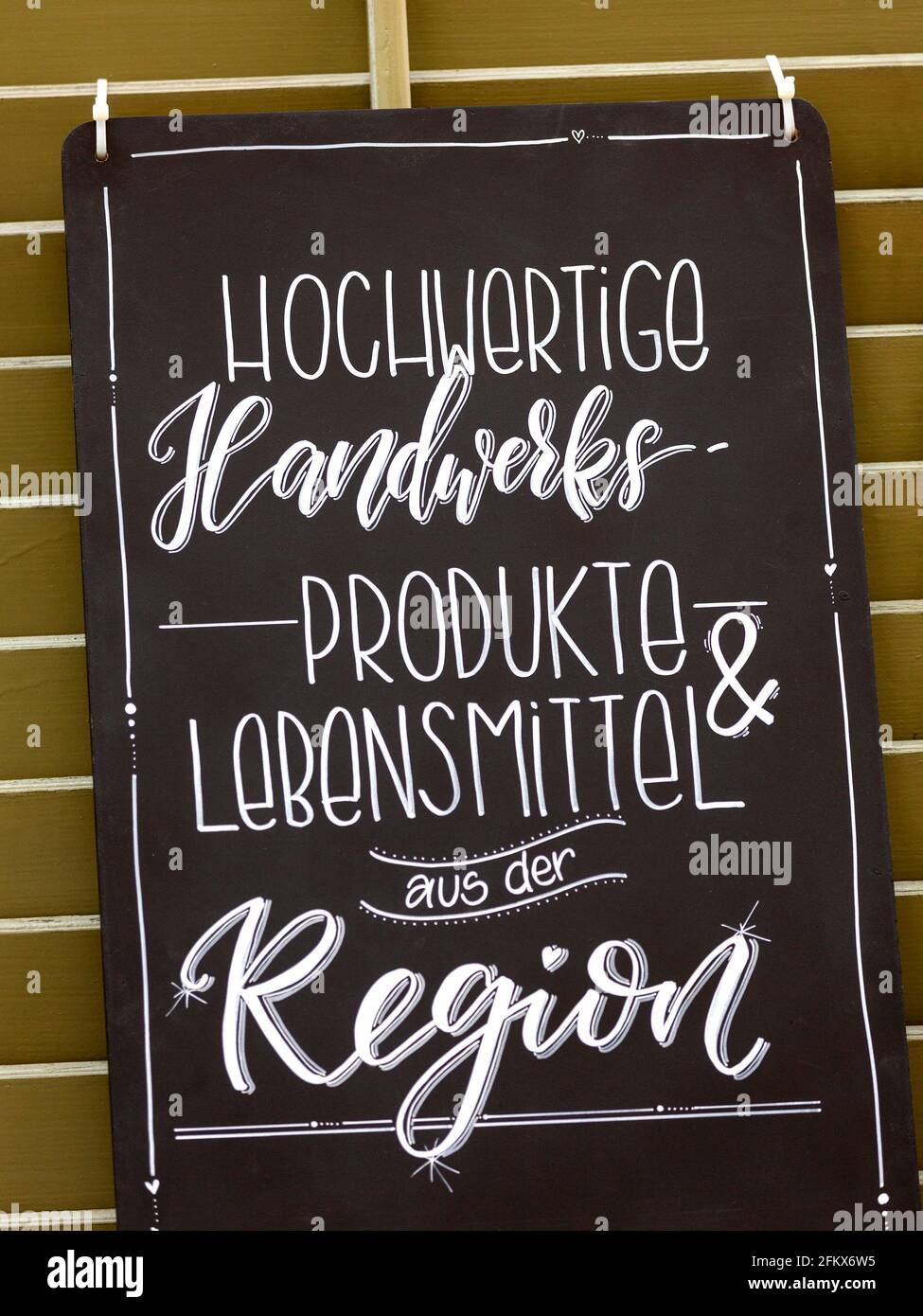 Sign, High Quality Handicrafts And Food From The Region Stock Photo