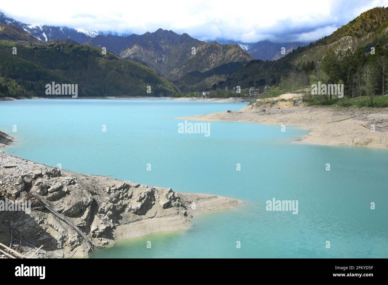 Barcis alpine lake with cloudy sky at Valcellina-Prodenone,Italy attractions on Dolomites Stock Photo
