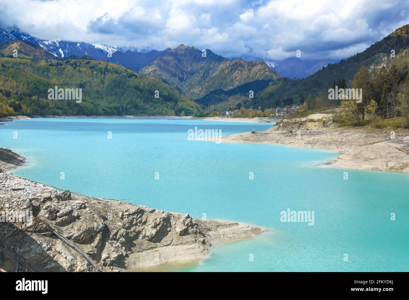 Barcis alpine lake with cloudy sky at Valcellina-Pordenone,Italy attractions on Dolomites Stock Photo