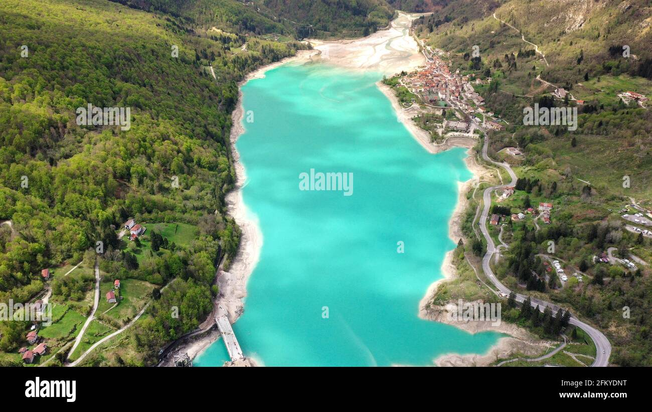 Barcis lake in a panoramic aerial view from above during sunny day at Valcellina-Pordenone,place to visit on Dolomites Stock Photo