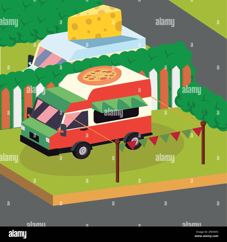 Isometric pizza food truck vehicle Stock Vector