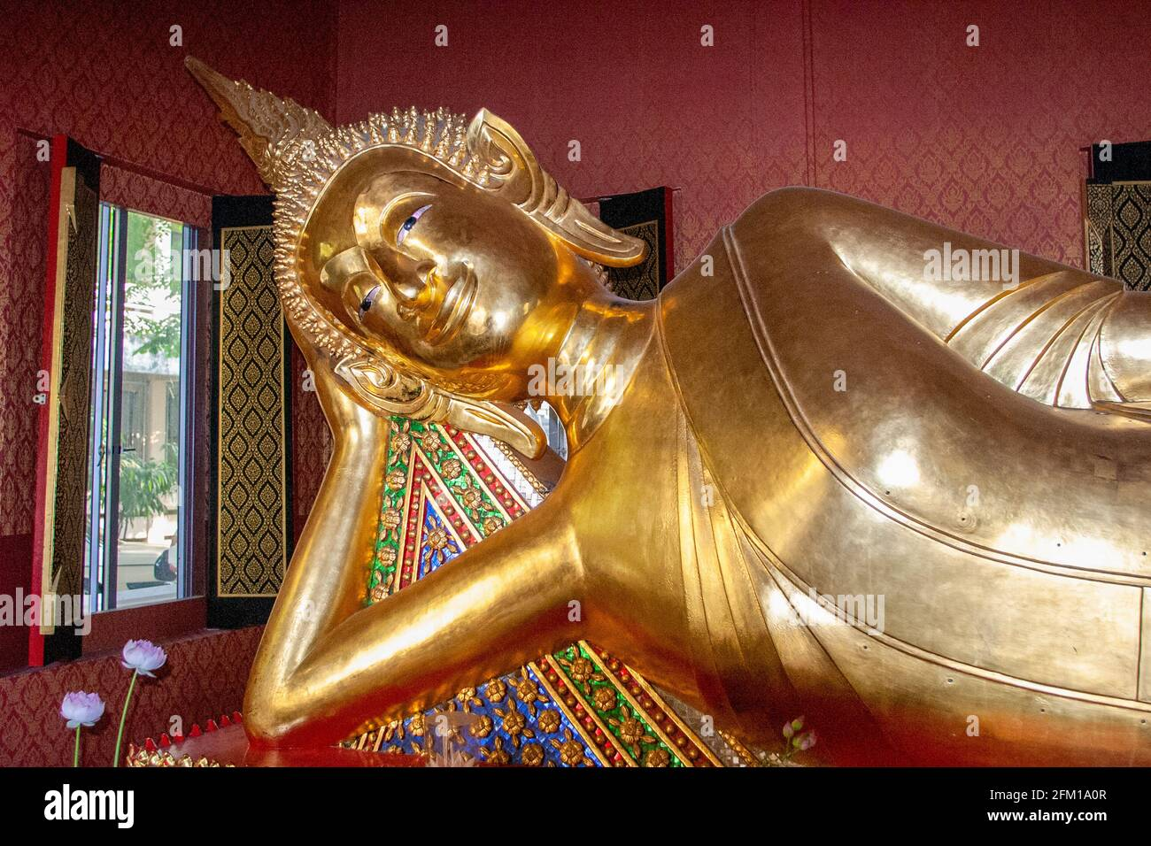 The Reclining Buddha of Wat Pho Temple in Bangkok. The temple was founded in the 16th century Stock Photo