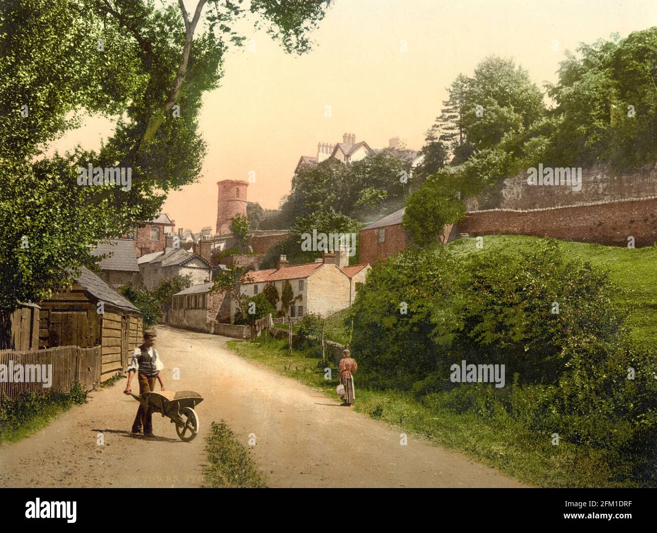 A street scene from Ross-on-Wye in Herefordshire, circa 1890-1900 Stock Photo
