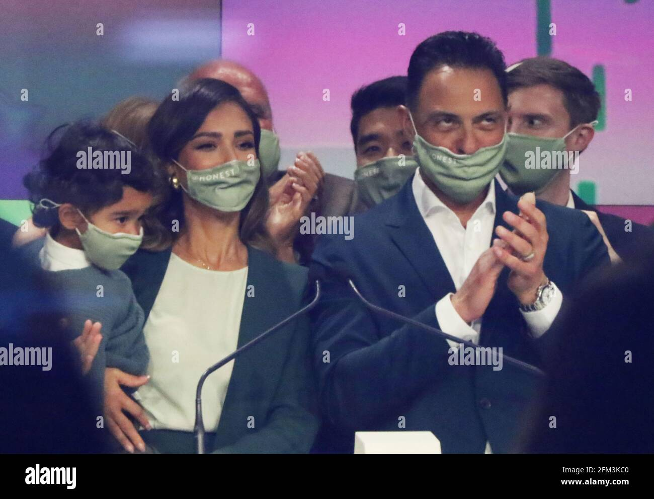 New York, NY, USA. 5th May, 2021. Jessica Alba Founder with Hayes Warren and Nick Vlahos CEO of The Honest Company rings the Opening Bell at Nasdaq in New York City on May 05, 2021. Credit: Rw/Media Punch/Alamy Live News Stock Photo