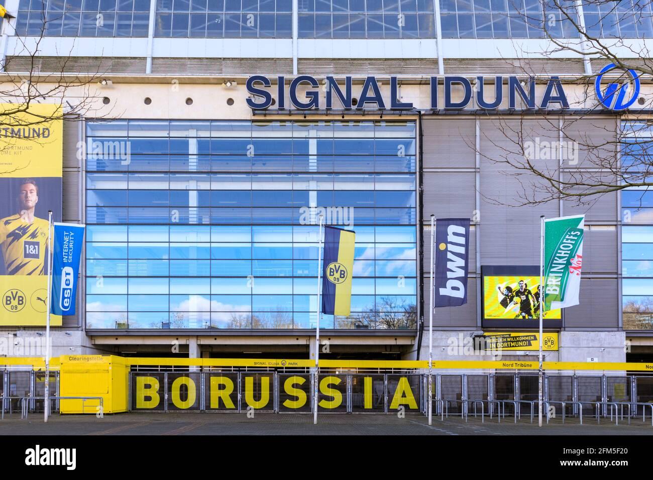 Signal Iduna Park, Borussia Dortmund football club BVB09 stadium arena front exterior, Dortmund, Germany Stock Photo