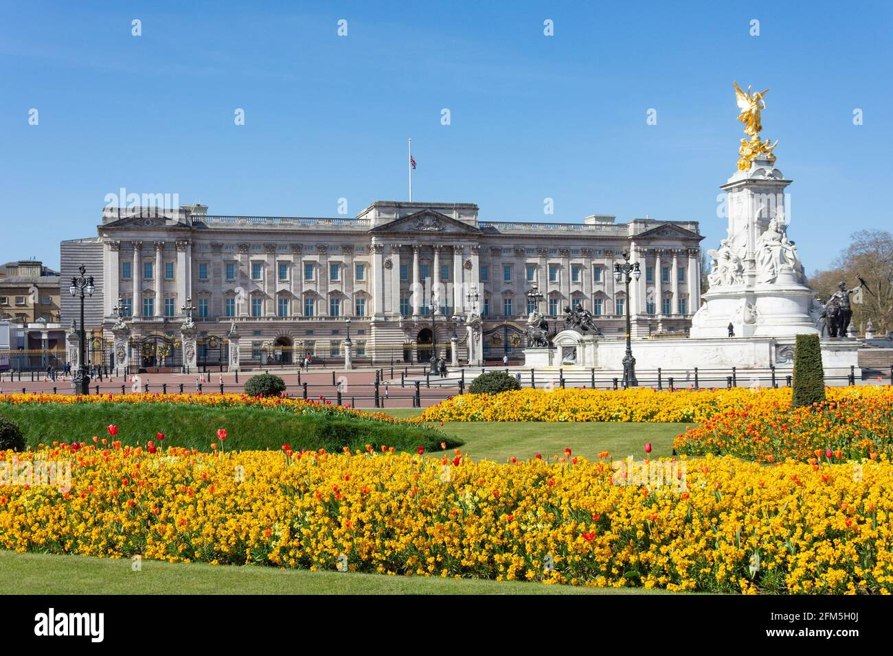 Buckingham Palace from Buckingham Palace Memorial Gardens, Westminster, City of Westminster, Greater London, England, United Kingdom Stock Photo
