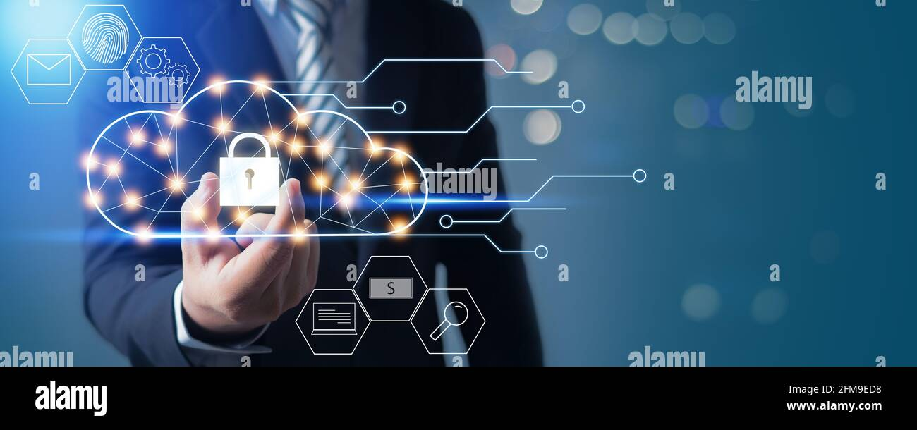 Cloud Server computing security, businessman hand and holding locked of network connection system and save media and database concept Stock Photo
