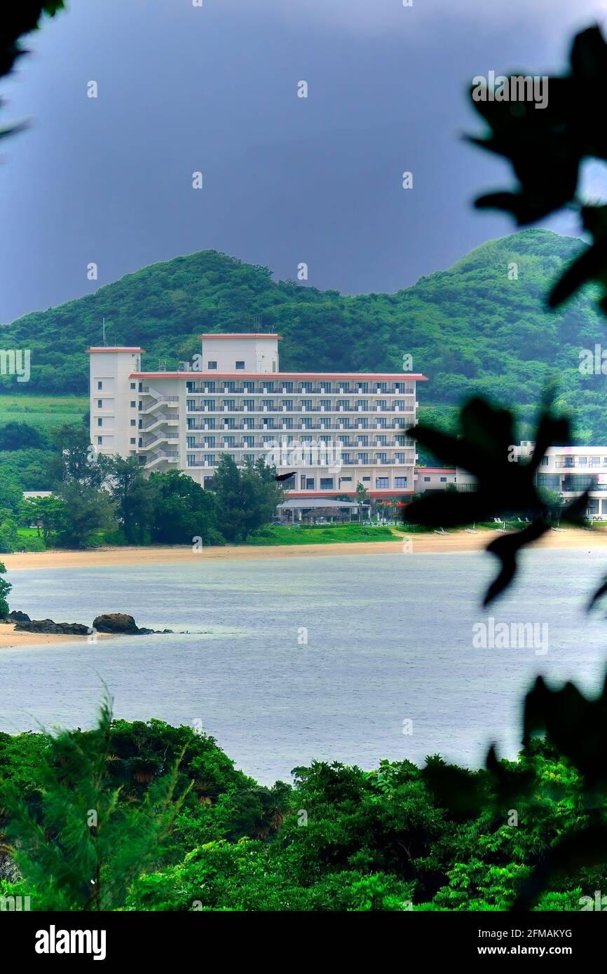Ishigaki Seaside Hotel, View From Distance , In the Rain,  Sukuji Beach, Kabira, Ishigaki, Yahema Islands, Okinawa, Ryukyu Islands, Japan Stock Photo