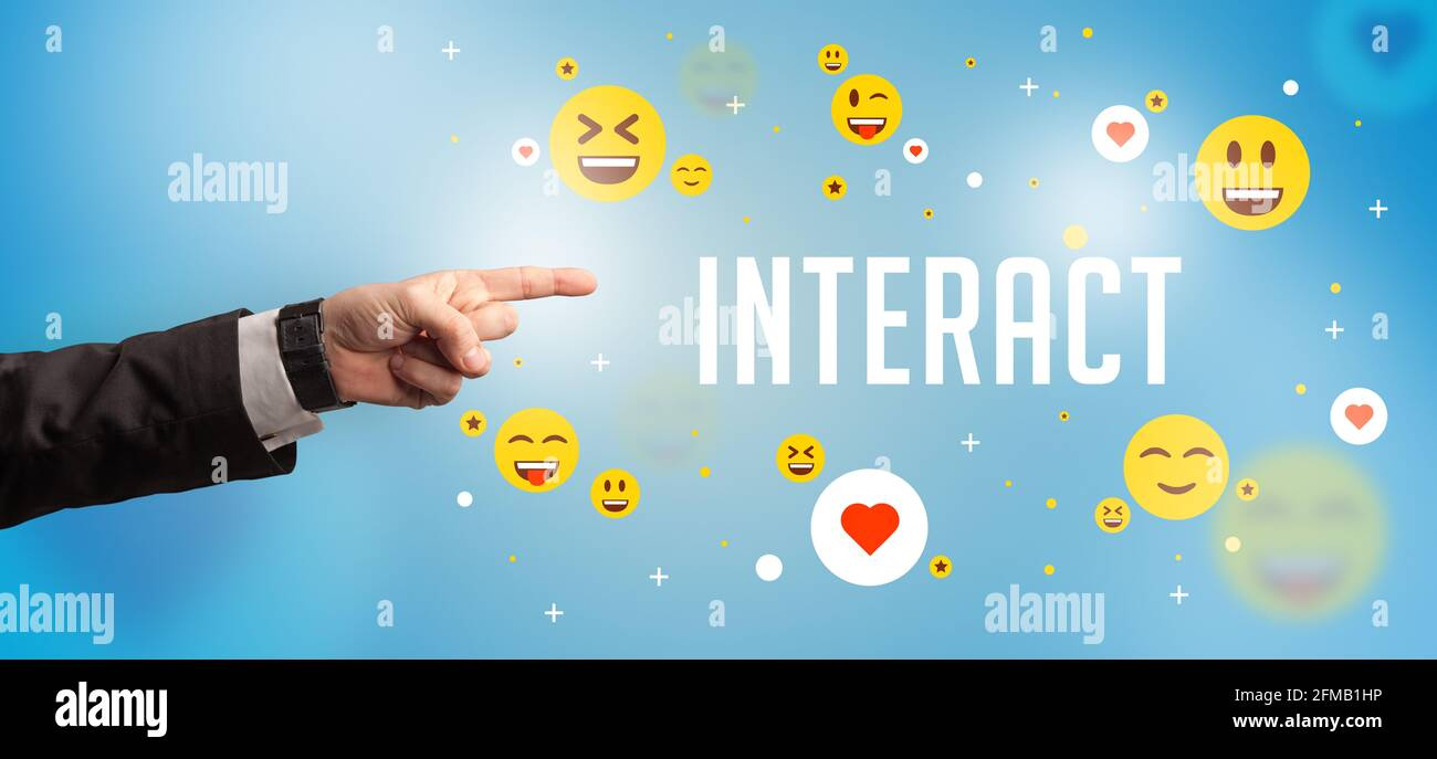 Close-Up of cropped hand pointing at social media concept Stock Photo
