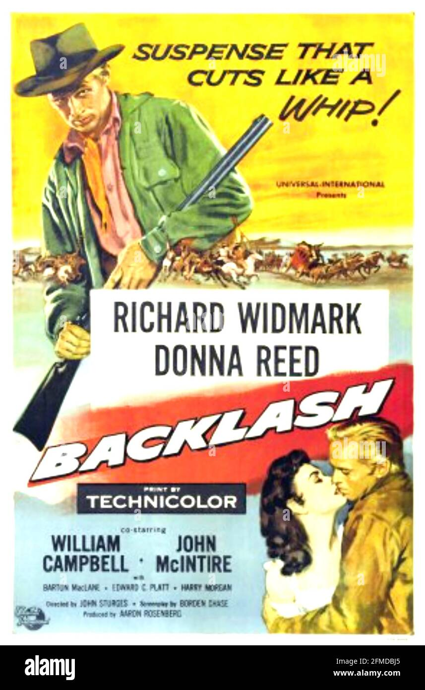 BACKLASH 1956 Universal-International film with Richard Widmark and Donna Reed. Poster by Reynold Brown Stock Photo
