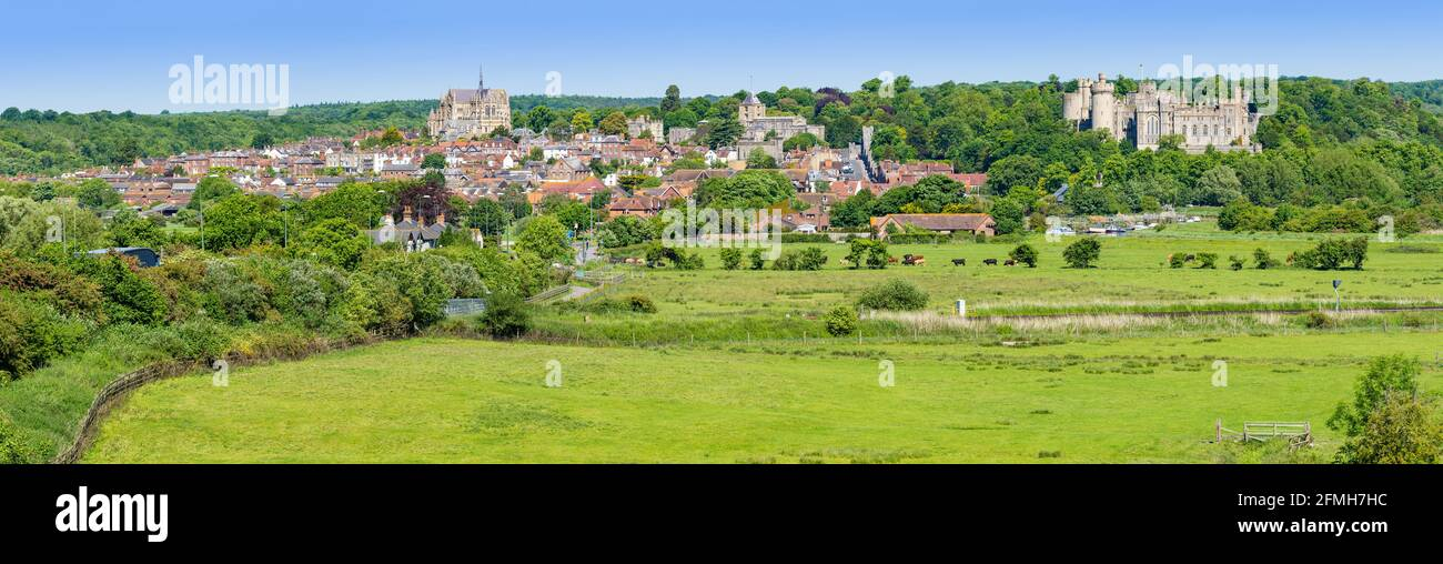 Panoramic view of the Market town of Arundel, showing Arundel town & Arundel Castle, on the South Downs in Spring in West Sussex, England, UK. Stock Photo