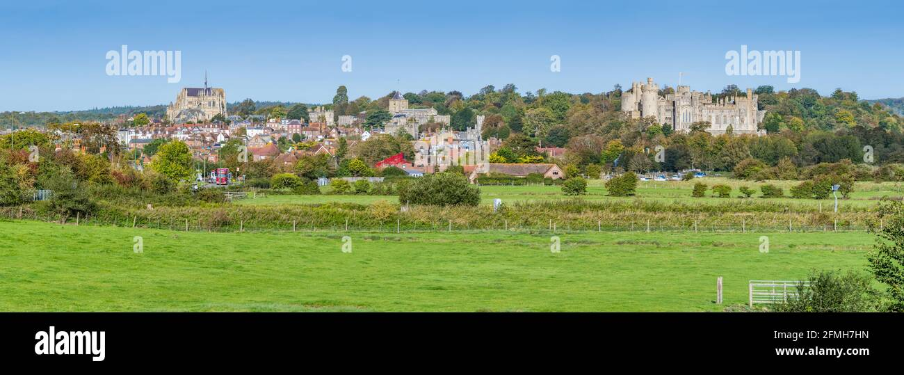 Panoramic view of the Market town of Arundel, showing Arundel town & Arundel Castle, on the South Downs in Autumn in West Sussex, England, UK. Stock Photo