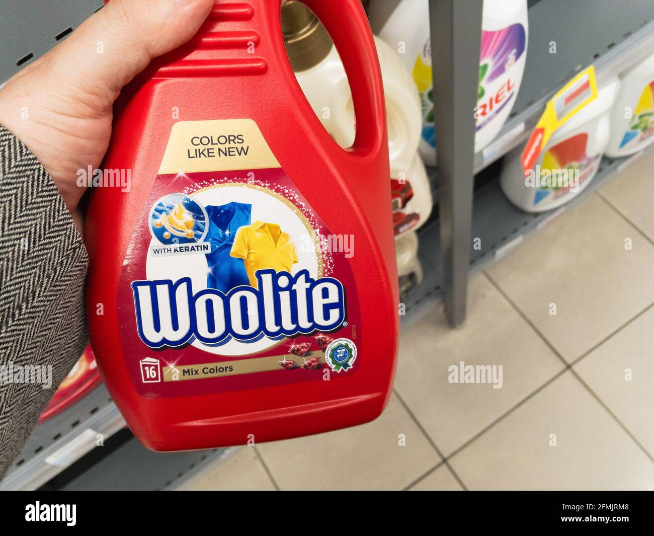 Picture of a detergent bottle with the logo of Reckitt in belgarde, serbia. Woolite is an American brand of laundry detergent owned by the British mul Stock Photo